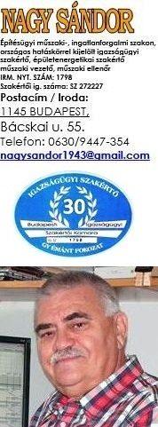 Nagy Sándor Építész-igazságügyi szakértő +36/30 944-7354